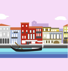 Venice city colorful flat style cityscape with vector