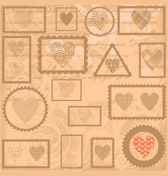vintage background with post stamps vector image