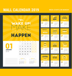Wall calendar template for 2019 year design print vector