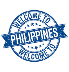 Welcome to philippines blue round ribbon stamp vector