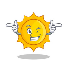 wink cute sun character cartoon vector image