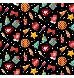 Winter christmas seamless pattern Flat designed vector image