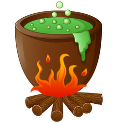 Witch cauldron with green potion isolated on white vector