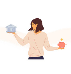 Woman choosing between bank and piggybank flat vector