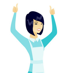 Young asian cleaner standing with raised arms up vector