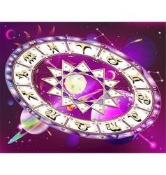 Zodiac circle in space vector