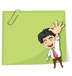 A man making a hand signal in front of the big vector image vector image