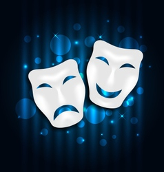 comedy and tragedy theatre masks on blue vector image