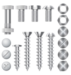 Construction hardware icons Screws bolts vector image