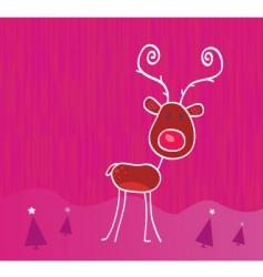doodle Christmas reindeer Rudolph vector image vector image