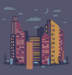 evening cityscape skyline with moon vector image vector image