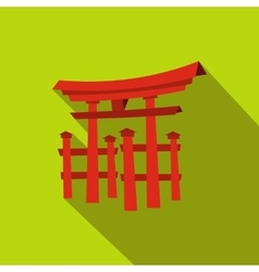 Floating Torii gate Japan icon flat style vector image vector image