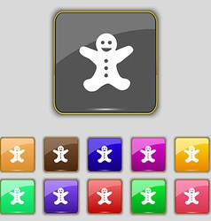 Gingerbread man icon sign Set with eleven colored vector image