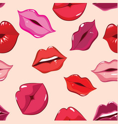 seamless pattern print of lips vector image