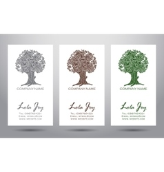 Set of business cards with logo elegant tree vector image
