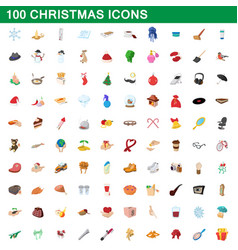 100 christmas icons set cartoon style vector image