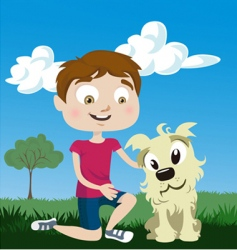 cartoon boy with dog vector image