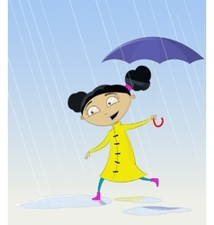 Cartoon girl under rain white isolated vector image