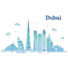 colorful detailed dubai line cityscape with vector image vector image