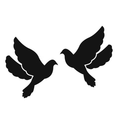 Two doves simple icon vector image vector image