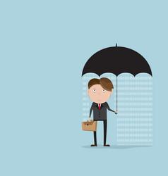 businessman with rainyday under umbrella vector image