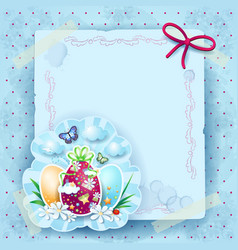 easter background with eggs and copy space vector image