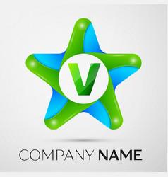 letter v logo symbol in the colorful star on grey vector image