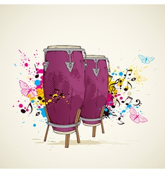 music background with drums vector image vector image