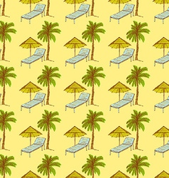 Sketch palm and deck chair in vintage style vector image vector image