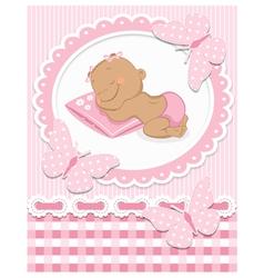 Sleeping African baby girl vector image