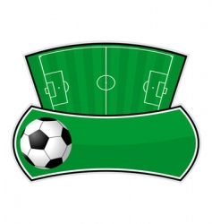 soccer field shield vector image vector image