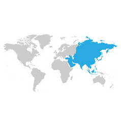 Asia continent blue marked in grey silhouette of vector