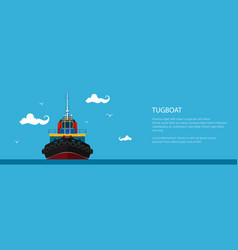 Front view of the tugboat banner vector