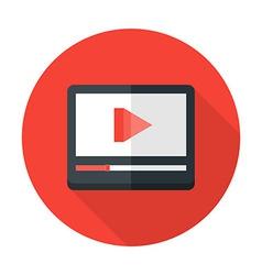 Media play flat circle icon vector image vector image