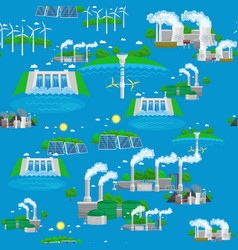 seamless pattern renewable ecology energy green vector image vector image