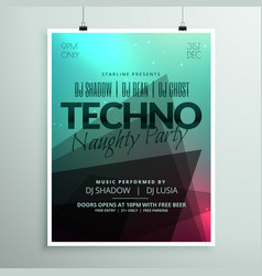 techno music party flyer brochure template in vector image vector image