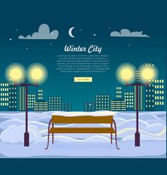 winter city web banner urban town at night vector image