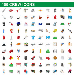 100 crew icons set cartoon style vector image