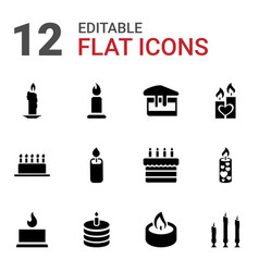 12 candle icons vector image
