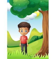 A boy under the shade of big tree vector