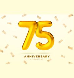 anniversary golden balloons number 75 vector image