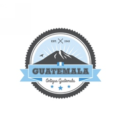 Antigua Guatemala badge with volcano Agua Patch vector
