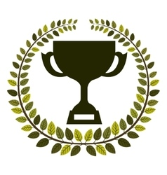 Arch of leaves with Trophy Cup with plate vector