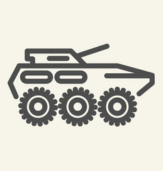 Armored troop-carrier line icon armored vehicle vector