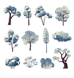 Bare trees and bushes under snow winter nature vector