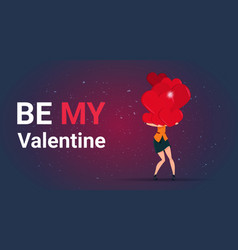 Be my valentine greeting card woman holding stack vector