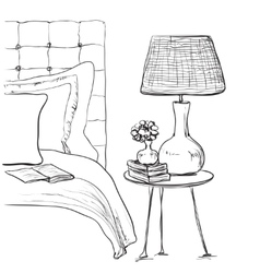 Bedroom modern interior sketch Hand drawn vector image