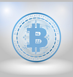 Blue bitcoin digital currency vector