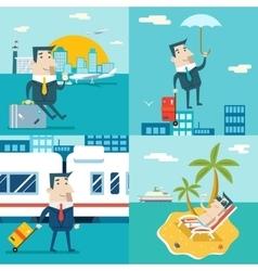 Businessman Cartoon Character Travel Train Ship vector