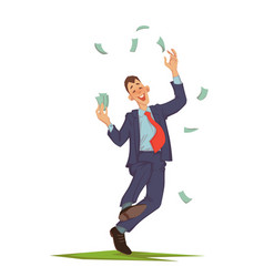 businessman throwing up money vector image